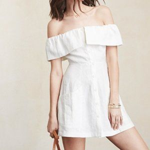 Reformation Botanical White Linen Mini Dress 0